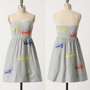 Anthropologie airplane embroidered dress